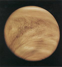 Cloud structure in Venus' atmosphere, revealed by ultraviolet observations. The characteristic V-shape of the clouds is due to the higher wind speed around the equator.