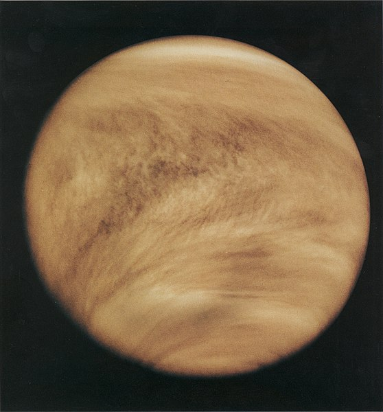 Ultraviolet image of Venus' clouds as seen by the Pioneer Venus Orbiter (February 26, 1979). The immense C- or Y-shaped features which are visible only in these wavelengths are individually short lived, but reform often enough to be considered a permanent feature of Venus' clouds. The mechanism by which Venus' clouds absorb ultraviolet is not well understood.