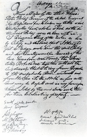 Voortrekkers - Copy of the treaty between Piet Retief and Dingane which led to the establishment of the Natalia Republic
