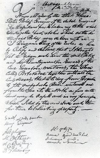 Piet Retief - Image: Verdrag tussen Retief en Dingane 1838
