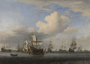 Four Days' Battle - HMS Swiftsure, Seven Oaks and Loyal George captured and flying Dutch colours, by Willem van de Velde the Younger