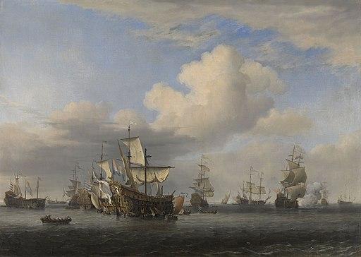 Veroverde Engelse schepen na de Vierdaagse Zeeslag Rijksmuseum SK-A-439