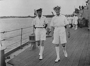 James Somerville - Somerville as Commander-in-Chief, Eastern Fleet with Captain G.N. Oliver on board HMS ''Warspite''