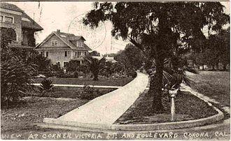 Corona, California - Image: Victoria Street Corona CA postcard