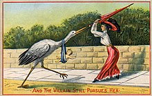 a cartoon of a woman being chased by a stork with a baby