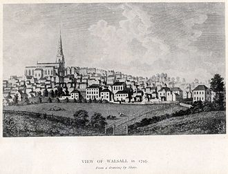 Walsall - View of Walsall in 1795, Engraving after Shaw, The New Art Gallery Walsall Permanent Collection 1976.102.P