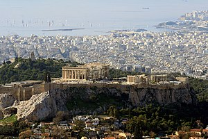 English: View of the Acropolis from Lykavittos...