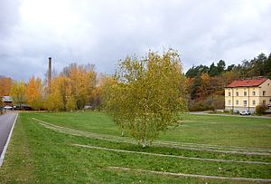 Vinterviken - The former factory area is now a big lawn, popular for recreational activities in summer.