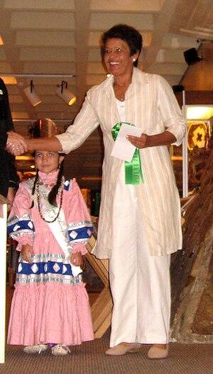 United Keetoowah Band of Cherokee Indians - Virginia Stroud, enrolled UKB member, accepts an award for her artwork, Cherokee Heritage Center, Park Hill, Oklahoma, 2007