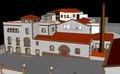 Vista del pati de l'antiga fàbrica del Calisay, actualment un hotel d'entitats d'Arenys de Mar..tif