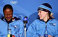 Vonetta Flowers & Jill Bakken at press conference after winning gold medal in 2 woman bobsleigh at 2002 Winter Olympics.jpg