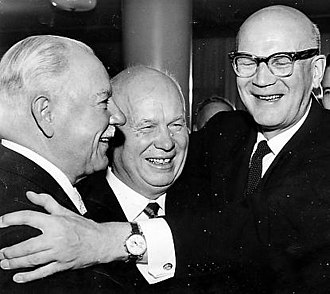 Paasikivi–Kekkonen doctrine - Chairman of the Presidium of the Supreme Soviet, Marshal Kliment Voroshilov, General Secretary of the Central Committee of the CPSU Nikita Khrushchev, and President of Finland Urho Kekkonen meeting in Moscow in November 1960.