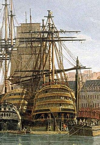 French ship Bretagne (1766) - Image: Vue du port de Brest detail Republicain