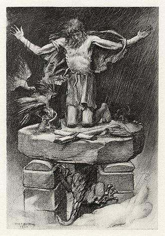 Photogravure - A 1901 photogravure illustration by W. E. F. Britten for Alfred, Lord Tennyson's poem St. Simeon Stylites.