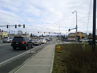 Washington State Route 531 - SR 531 eastbound at 27th Avenue, approaching the I-5 interchange
