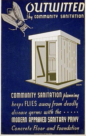 Outhouse -  Historical community sanitation poster promoting sanitary outhouse designs (Illinois, US, 1940)