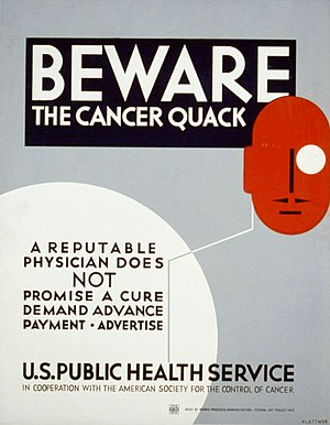 WPA poster warning cancer patients to be wary ...