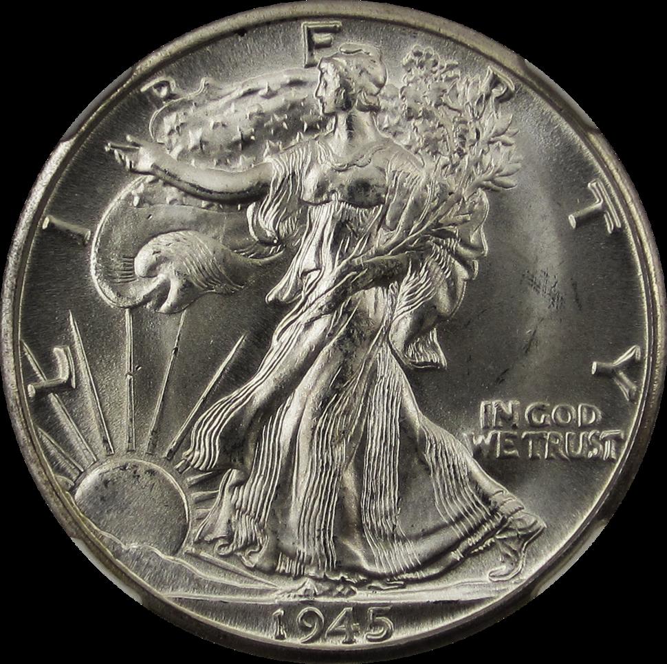 Walking Liberty Half Dollar 1945D Obverse