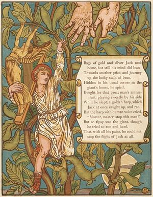 Jack and the Beanstalk - In Walter Crane's woodcut the harp reaches out to cling to the vine