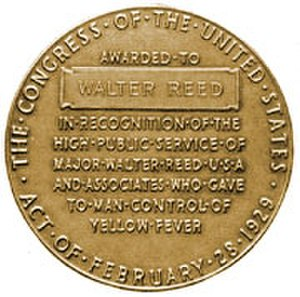 Walter Reed Medal - Image: Walter Reed Congressional Gold Medal (reverse)