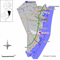 Map of Waretown CDP in Ocean County. Inset: Location of Ocean County in New Jersey.