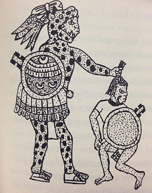 Tonalli - Warrior who has taken a captive by the hair. This is a symbolic representation of seizing the captive's tonalli. Early colonial Central Mexico.