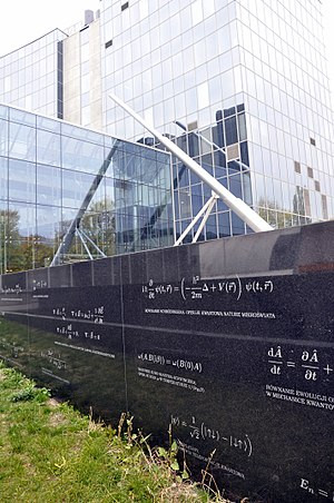 Maxwell's equations - Maxwell's equations (mid-left) as featured on a monument in front of Warsaw University's Center of New Technologies