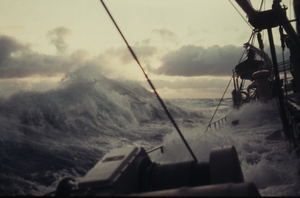 Sea state - Winter, North Atlantic – Water over deck and hatches, storm with huge waves (1958)