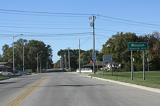 Waupun, Wisconsin - Sign on WIS 26