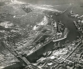 Roker Park (top left) pictured from above in 1967 Wearmouth Bridge to the Sea 2nd March 1967.jpg