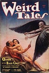 Обложка журнала, изображающая мужчину и женщину, подвергшихся нападению крылатого мужчины