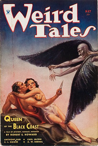 "Weird Tales (May 1934) featuring ""Queen of the Black Coast."" This was the first of only three covers featuring Conan, although nine Conan stories featured on the cover in total. Weird Tales May 1934.jpg"