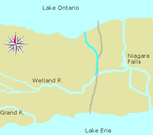 First Welland Canal - The Welland Canal as originally planned. The present-day canal is marked in pale grey