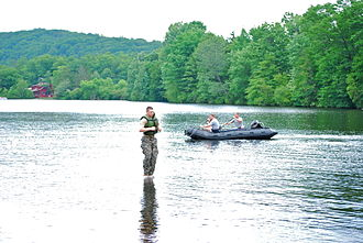 Popolopen - West Point cadet during summer military training on the lake