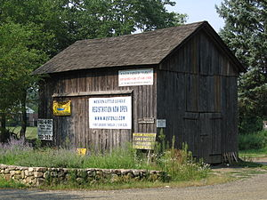 Weston, Connecticut - The Onion Barn, where community bulletins are posted