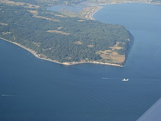 Whidbey Island - Double Bluff, with Useless Bay to the South (right) and Mutiny Bay to the North (left)