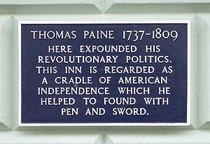 Thomas Paine - Plaque at the White Hart Hotel, Lewes, East Sussex, south east England