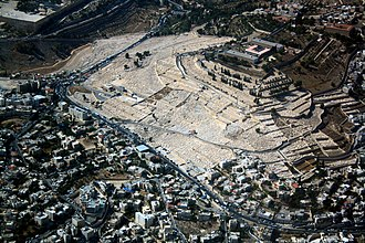 East Jerusalem - Aerial view of the ancient Jewish cemetery on Mount of Olives