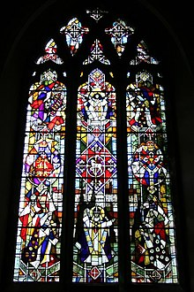 Stained glass window by Lawrence Lee in St.John the Baptist's church, Penshurst, Kent. Presented by the people of Penshurst in August 1970 in commemoration of the institution of Wilhelmus as the first Parish priest on 27th December 1170 by St.Thomas Becket.