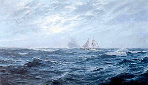 Sailing Ship At Sea With Ghost Freighter