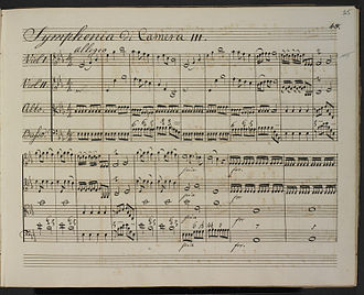 William Herschel - Original manuscript of Symphony No. 15 in E flat major (1762).