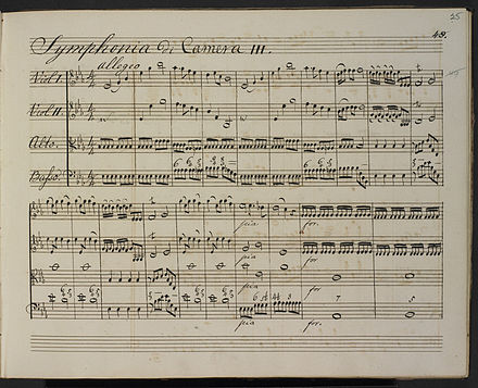 Original manuscript of Symphony No. 15 in E flat major (1762) William Herschel - Symphony No. 15 - British Library Add MS 49626 f25r.jpg