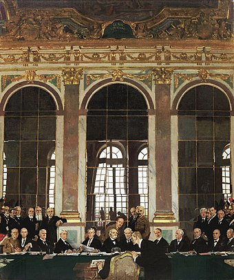 William Orpen's The Signing of Peace in the Hall of Mirrors: a compiled portrait of the main delegates to the signing of the Treaty of Versailles, including some of the Dominion delegates William Orpen - The Signing of Peace in the Hall of Mirrors.jpg