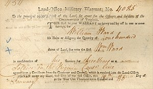 William Ward (frontiersman) - Soldiers, like William Ward, who served in the Virginia Continental Line for three years, were issued land warrants.
