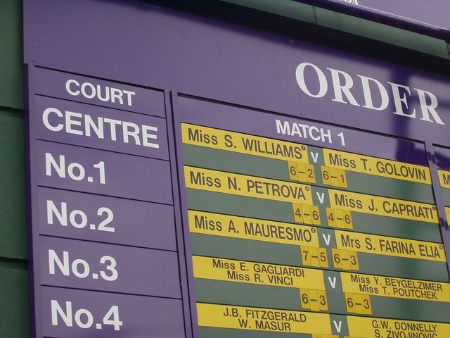 Wimbledon order of play