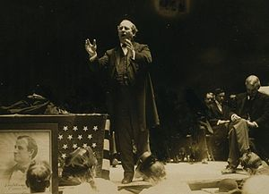 "United States presidential election, 1908 - The aging and balding ""Boy Orator of the Platte"" delivers a speech."
