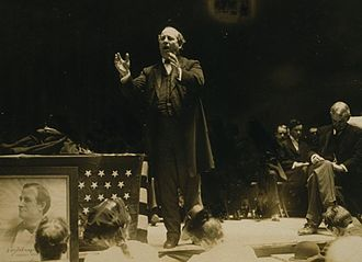 "1908 United States presidential election - The aging and balding ""Boy Orator of the Platte"" delivers a speech."