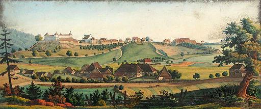 Wolfegg Blick auf das Schloss und den Ort 19Jh