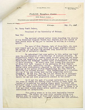Georgiana Simpson - A letter condemning the removal of Simpson from Univ. of Chicago campus housing