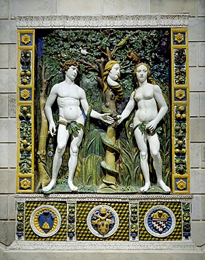 Salviati family - Adam and Eve, from the workshop of Giovanni della Robbia, with the Salviati arms at lower right (The Walters Art Museum)